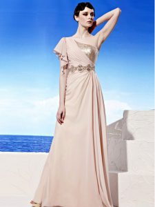 Stunning One Shoulder Sleeveless Chiffon Mother Of The Bride Dress Sequins and Ruching Side Zipper