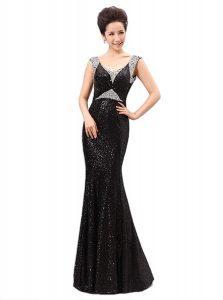 High Quality Black Zipper V-neck Sequins Mother Of The Bride Dress Sequined Sleeveless