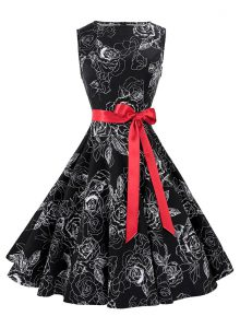 Scoop Chiffon Sleeveless Knee Length Mother Of The Bride Dress and Sashes ribbons and Pattern