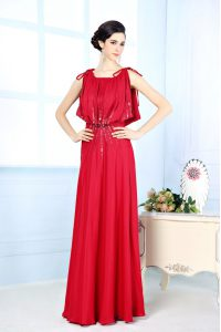 Floor Length Red Mother of Bride Dresses Scoop Sleeveless Side Zipper