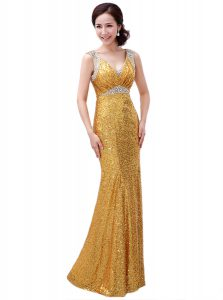 Sequins Floor Length Gold Mother Of The Bride Dress V-neck Sleeveless Zipper