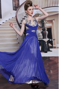 Sequins Pleated Royal Blue Sleeveless Chiffon Zipper Mother Of The Bride Dress for Prom and Party