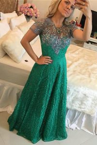 Fantastic Scoop Floor Length Green Mother Of The Bride Dress Lace Short Sleeves Beading