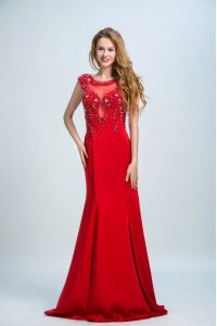 Dramatic Mermaid Scoop Red Side Zipper Mother Of The Bride Dress Beading Sleeveless With Brush Train