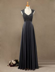 Vintage Scoop Sleeveless Chiffon Floor Length Zipper Mother Of The Bride Dress in Black with Lace