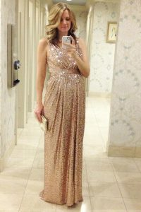 Stunning V-neck Sleeveless Sequined Mother Of The Bride Dress Pleated Lace Up