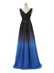 Blue And Black Sleeveless Chiffon and Tulle Zipper Mother Of The Bride Dress for Prom and Party