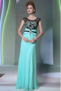 Teal Column/Sheath Scoop Sleeveless Chiffon Floor Length Zipper Appliques Mother of Groom Dress