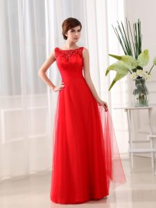 Scoop Coral Red Zipper Mother Of The Bride Dress Beading and Appliques Sleeveless Floor Length