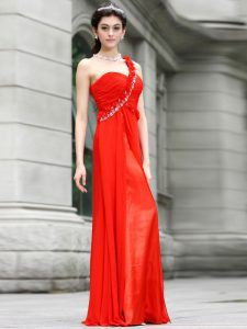 Coral Red One Shoulder Neckline Beading and Hand Made Flower Mother Of The Bride Dress Sleeveless Zipper