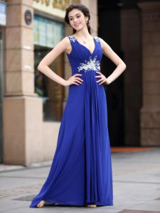 Blue Sleeveless Floor Length Beading and Appliques and Ruching Zipper Mother Of The Bride Dress