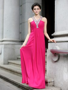 Sleeveless Chiffon Floor Length Criss Cross Mother Of The Bride Dress in Hot Pink with Beading and Ruching
