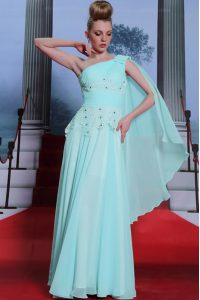 On Sale One Shoulder Turquoise Side Zipper Mother Of The Bride Dress Lace and Ruching Sleeveless Floor Length