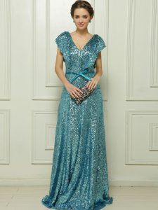 Smart Sequins Column/Sheath Mother Of The Bride Dress Teal V-neck Sequined Sleeveless Floor Length Zipper