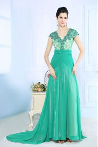 Dazzling V-neck Cap Sleeves Chiffon Mother Of The Bride Dress Beading and Lace and Ruching Brush Train Side Zipper