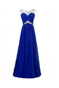 Sexy Royal Blue Sleeveless Silk Like Satin Zipper Mother Of The Bride Dress for Prom and Party