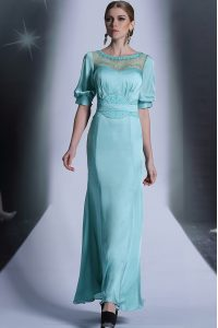 Chiffon Bateau Half Sleeves Zipper Sequins and Pleated Mother Of The Bride Dress in Aqua Blue