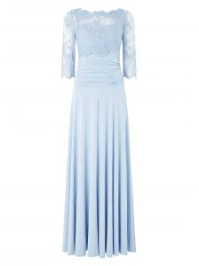 Classical Bateau 3 4 Length Sleeve Zipper Mother Of The Bride Dress Light Blue Silk Like Satin