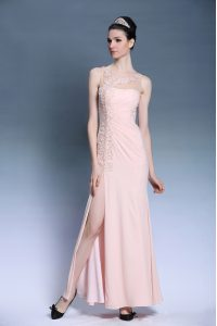 Bateau Sleeveless Mother Of The Bride Dress Ankle Length Appliques Baby Pink Chiffon