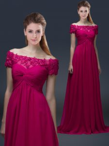 Fuchsia Empire Off The Shoulder Short Sleeves Chiffon Floor Length Lace Up Appliques Mother Of The Bride Dress