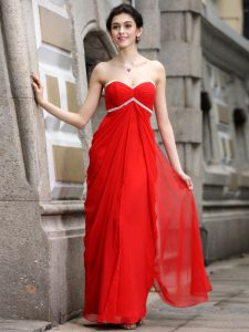Inexpensive Coral Red Sleeveless Beading Ankle Length Mother Of The Bride Dress