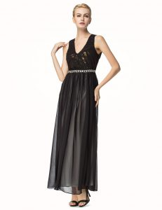 Top Selling Sleeveless Chiffon Ankle Length Backless Mother Of The Bride Dress in Black with Beading and Pleated