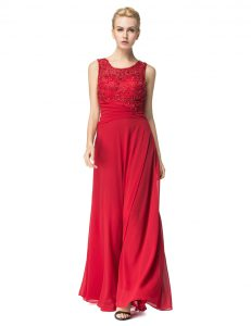 Scoop Floor Length Column/Sheath Sleeveless Red Mother Of The Bride Dress Lace Up