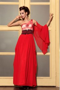 Free and Easy One Shoulder Sleeveless Chiffon Mother of the Bride Dress Beading Side Zipper