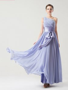 Most Popular Lavender Side Zipper One Shoulder Ruching and Bowknot Mother Of The Bride Dress Chiffon Sleeveless