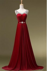 Pretty Wine Red Chiffon Zipper Scoop Sleeveless Mother of Groom Dress Brush Train Beading and Belt