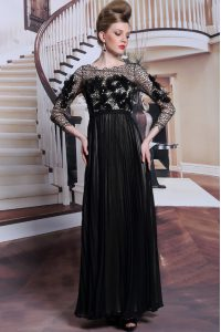 Black Column/Sheath Appliques and Sequins Mother Of The Bride Dress Clasp Handle Chiffon 3 4 Length Sleeve Asymmetrical