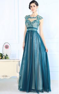 Comfortable Scoop Teal Empire Lace Mother Of The Bride Dress Zipper Chiffon Sleeveless Floor Length