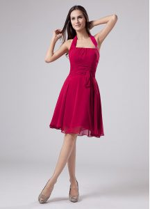 Knee Length Empire Sleeveless Fuchsia Mother Of The Bride Dress Zipper
