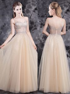 Fantastic Sleeveless Zipper Floor Length Beading Mother of Bride Dresses