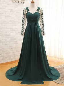 Sweetheart Long Sleeves Mother Of The Bride Dress With Train Lace Teal Satin