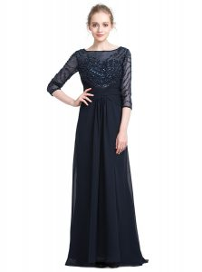 Black Bateau Zipper Beading Mother Of The Bride Dress 3 4 Length Sleeve
