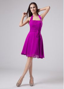 Noble Halter Top Sleeveless Zipper Mother Of The Bride Dress Purple Chiffon