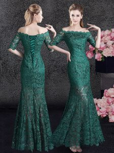 Enchanting Scalloped Dark Green Mermaid Lace Mother Of The Bride Dress Lace Up Lace Half Sleeves Floor Length