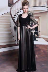 Black Chiffon Zipper Mother Of The Bride Dress Half Sleeves Floor Length Lace and Pleated