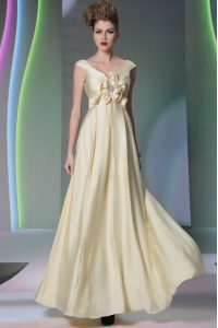 Floor Length Light Yellow Mother Of The Bride Dress Scoop Cap Sleeves Side Zipper