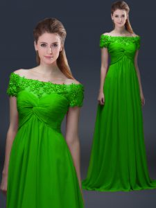 Glamorous Short Sleeves Appliques Lace Up Mother Of The Bride Dress