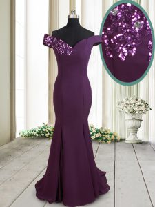 Luxury Off the Shoulder Sequins Mermaid Sleeveless Dark Purple Mother of Bride Dresses Brush Train Zipper