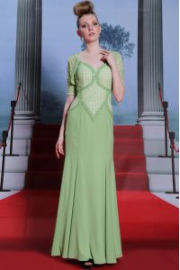 Spectacular Olive Green Spaghetti Straps Side Zipper Beading and Lace Mother Of The Bride Dress Cap Sleeves
