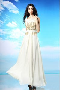 White Column/Sheath Chiffon Scoop Sleeveless Beading and Ruching Ankle Length Side Zipper Mother of Groom Dress