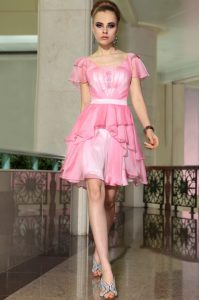 Rose Pink Empire Chiffon Square Cap Sleeves Belt Mini Length Side Zipper Mother Of The Bride Dress