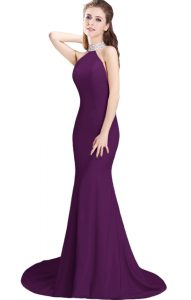 Elegant Purple Mermaid Beading Mother Of The Bride Dress Side Zipper Elastic Woven Satin Sleeveless