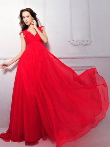 Delicate Coral Red V-neck Zipper Lace Mother Of The Bride Dress Sleeveless