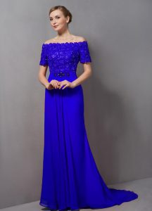 Traditional Short Sleeves Sweep Train Zipper Lace Mother Of The Bride Dress