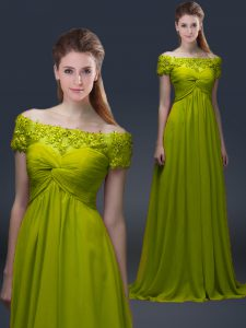 Floor Length A-line Short Sleeves Olive Green Mother Of The Bride Dress Lace Up