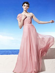 One Shoulder Pink Sleeveless Floor Length Beading Side Zipper Mother Of The Bride Dress